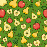 Thanksgiving Day Seamless Pattern With Fruits And Leaves Of Trees. Pear And Apple Stock Image