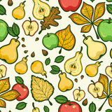 Thanksgiving Day Seamless Pattern With Fruits And Leaves Of Trees. Pear And Apple Stock Photo