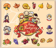 Thanksgiving Day Set of Colored Illustrations Stock Image