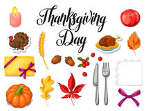 Thanksgiving Day set of object. Autumn and holiday items Royalty Free Stock Images