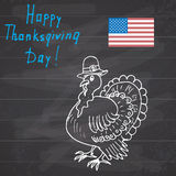 Thanksgiving day sketch doodle turkey in pilgrims hat, Freehand vector drawing and lettering on chalkboard Royalty Free Stock Images