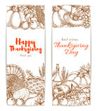 Thanksgiving day sketched retro greeting banners Stock Photography