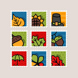 Thanksgiving Day stamp set. Harvest Stock Images