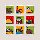 Thanksgiving Day stamp set. Harvest Royalty Free Stock Photos