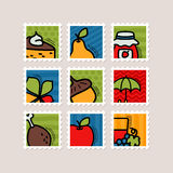 Thanksgiving Day stamp set. Harvest Stock Photo