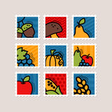 Thanksgiving Day stamp set. Harvest Royalty Free Stock Images