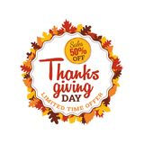 Thanksgiving day super sale. 50% off badge with autumn fall dry leaf frame vector illustration. element for online shop web, banne. R, poster, flyer, sticker Vector Illustration