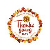 Thanksgiving day super sale. 50% off typography badge with autumn fall dry leaf frame vector illustration. Element for online shop web, banner, poster, flyer Stock Images