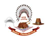 Thanksgiving Day symbols set royalty free illustration