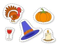 Thanksgiving Day Symbols stickers Flat Vector Set. Thanksgiving day symbols stickers or icons set. Pumpkin, turkey, pilgrim hat, inflamed candle and glass of Royalty Free Stock Images