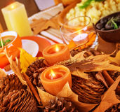 Thanksgiving day table decor Royalty Free Stock Image