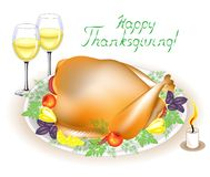 Thanksgiving Day. On the table is a delicious roast turkey with apples, peppers and herbs. Two glasses of wine and a candle. vector illustration