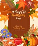 Thanksgiving day. Thanksgiving party poster with bright background. Harvest festival Stock Images