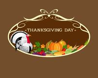 Thanksgiving Day. Turkey and an abundance of vegetables in the frame. Stock Photos