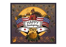 Thanksgiving Day. Turkey and the American flag stock illustration