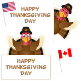 Thanksgiving Day Turkey and Banners Set Stock Images