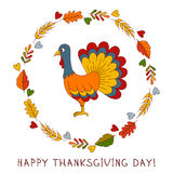 Thanksgiving day turkey doodle cute greeting card Stock Photo