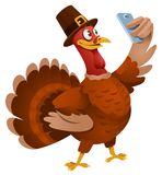 Thanksgiving Day. Turkey in a hat making selfie. Cartoon styled vector illustration. Elements is grouped. No transparent objects. Isolated on white Royalty Free Stock Images