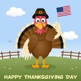 Thanksgiving day Turkije met de Vlag van de V.S. Stock Afbeeldingen