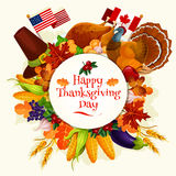 Thanksgiving Day vector banner emblem Stock Image