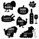 Thanksgiving day. Vector 10 eps. Black vintage grunge icons. Stock Images