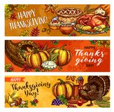 Thanksgiving day vector greeting banners sketch. Thanksgiving Day greeting sketch banners of seasonal autumn cornucopia harvest, roasted turkey and fruit pie Royalty Free Stock Images