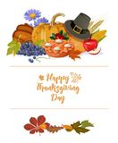 Thanksgiving day. Vector greeting card with autumn fruit, vegetables, leaves and flowers. Harvest festival Royalty Free Stock Image