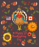 Thanksgiving day. Vector greeting card with turkey, with autumn fruit, vegetables, pumpkins, leaves and flowers. Harvest festival Stock Photos