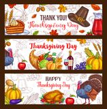 Thanksgiving day vector harvest greeting banners. Thanksgiving Day greeting banners of seasonal autumn harvest, roasted turkey and fruit pie, pumpkin or corn Royalty Free Stock Photo