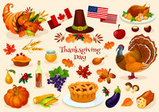 Thanksgiving day. Vector  icons Stock Images
