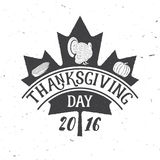 Thanksgiving Day 2016. Vector illustration. Thanksgiving Day 2016. Thanksgiving retro badge. Concept for shirt or logo, print, stamp, patch. Pumpkin, corn and Royalty Free Stock Photo