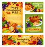 Thanksgiving day vector posters and banners. Thanksgiving day greeting posters or banners for traditional autumn holiday. Vector set of roasted turkey on dish Royalty Free Stock Images