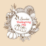 Thanksgiving Day vector sketch banner emblem. Happy Thanksgiving greeting card. Circle emblem with design of traditional pumpkin, turkey, cornucopia, vegetables Stock Photos