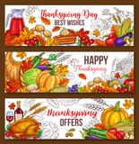 Thanksgiving day vector sketch harvest banners. Thanksgiving day sketch banners of traditional roasted turkey and fruit pie, pumpkin or corn and mushroom harvest Stock Photography