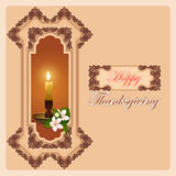 Thanksgiving day, vintage computer graphic background with candle and flowers Stock Photo