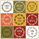 Thanksgiving day vintage gift tags and cards with calligraphy. Handwritten lettering. Royalty Free Stock Images