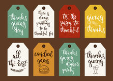 Thanksgiving day vintage gift tags and cards with calligraphy. Royalty Free Stock Images