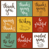 Thanksgiving day vintage gift tags and cards with calligraphy. Handwritten lettering. Stock Image