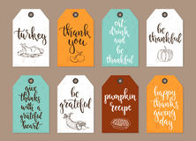 Thanksgiving day vintage gift tags and cards with calligraphy. Stock Photos