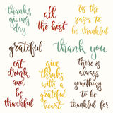 Thanksgiving day vintage gift tags and cards. Handwritten lettering. Stock Photography