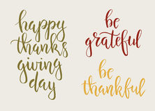 Thanksgiving day vintage gift tags and cards. Handwritten lettering. Royalty Free Stock Photos