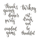 Thanksgiving day vintage gift tags and cards. Handwritten lettering. Royalty Free Stock Images