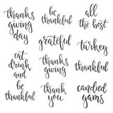 Thanksgiving day vintage gift tags and cards. Handwritten lettering. Stock Photos