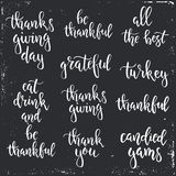 Thanksgiving day vintage gift tags and cards. Handwritten lettering. Stock Image