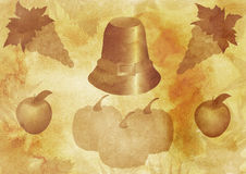 Thanksgiving Day in vintage. Hat, pumpkin, turkey apples and grapes  on a background of watercolor. Royalty Free Stock Photography