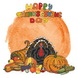 Thanksgiving day.Watercolor splash,Doodle harvest Royalty Free Stock Photos