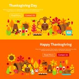 Thanksgiving Day Website Banners Stock Image