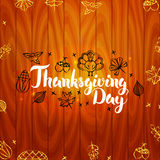 Thanksgiving Day with Wooden Board Stock Photo