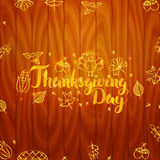 Thanksgiving Day Wooden Board Royalty Free Stock Photo