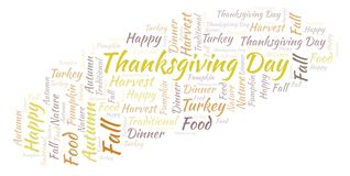 Thanksgiving Day word cloud. stock illustration